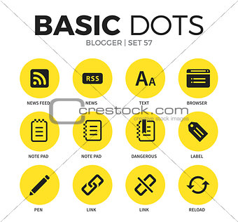 Blogger flat icons vector set