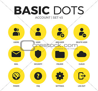 Account flat icons vector set