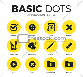 Application flat icons vector set