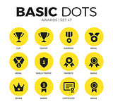 Awards flat icons vector set