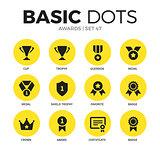 Awards flat icons vector set