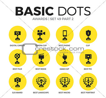 Award flat icons vector set