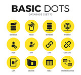 Database flat icons vector set