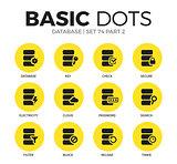 Database flat icons vector set