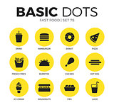 Fast food flat icons vector set