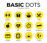 Fitness flat icons vector set