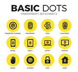Fingerprint flat icons vector set