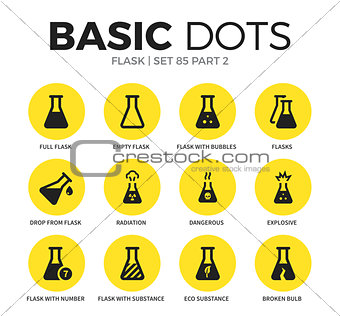 Flask flat icons vector set