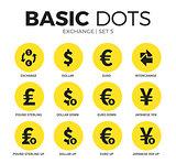 Exchange flat icons vector set