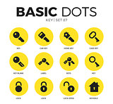 Key flat icons vector set