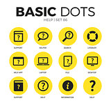 Help flat icons vector set