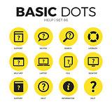 Help flat icons vector set