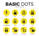 Locks flat icons vector set