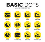 Line chart flat icons vector set