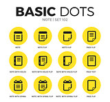 Note flat icons vector set