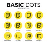 Notes flat icons vector set