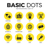 Networking flat icons vector set