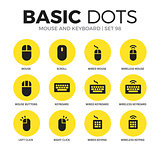 Mouse and keyboard flat icons vector set