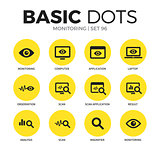 Monitoring flat icons vector set