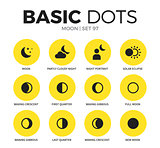 Moon flat icons vector set