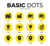 Map flat icons vector set