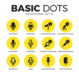 Microphone flat icons vector set