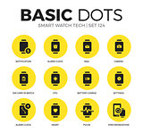 Smart watch tech flat icons vector set