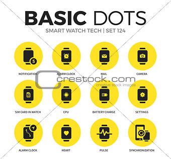 Smart watch tech flat icons vector set