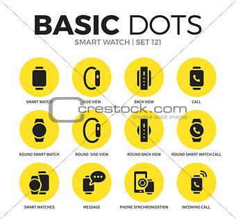 Smart watch flat icons vector set
