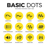 Sound waves flat icons vector set
