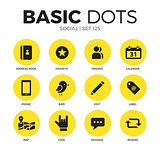Social flat icons vector set