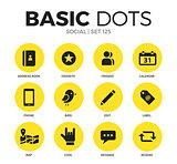 Social flat icons vector set