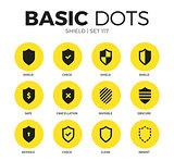 Shield flat icons vector set