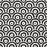 Rough Line Hand Drawn Circles. Vector Seamless Black and White Pattern.