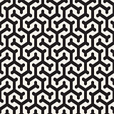 Vector Seamless Interlacing Lines Pattern. Repeating Geometric Background With Hexagonal Lattice.