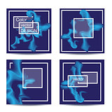 Set of four square cards. Abstract banners with frames