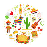 Cinco de Mayo celebration in Mexico, icons set in round shape, design element, flat style. Vector illustration.