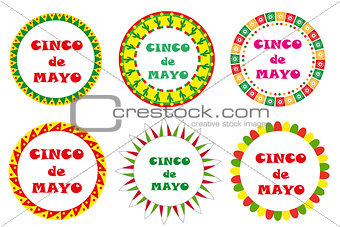 Cinco de Mayo set of round frames with space for text. Isolated on white background. Vector illustration.