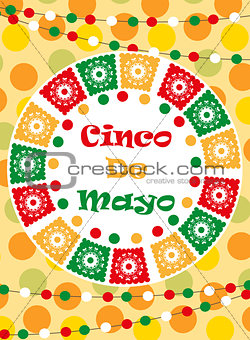 Cinco de Mayo greeting card, template for flyer, poster, invitation. Mexican celebration with traditional symbols. Vector illustration.