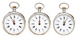 set of retro pocket watches with midnight time