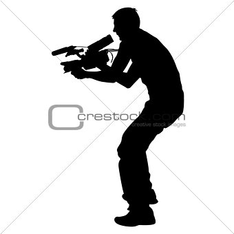 Cameraman with video camera. Silhouettes on white background. Vector illustration