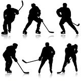 Set of silhouettes hockey player. Isolated on white. Vector illustrations