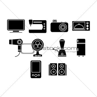 Flat black home appliances season icon set