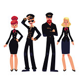 Airplane crew of pilots and stewardesses, cartoon vector illustration