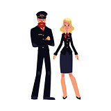 Bearded airline pilot and blond stewardess in black uniform