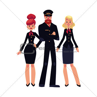 Airline pilot and two flight attendants, stewardess in black uniform