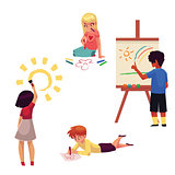 Kids drawing with pencils, crayons, paints, fingers, standing, sitting, lying
