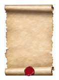 Old scroll or letter with wax seal isolated on white