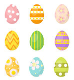 Easter eggs set of icons, design elements. Isolated on white background. Vector illustration.