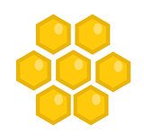 Honey comb icon, flat style. Isolated on white background. Vector illustration, clip-art.